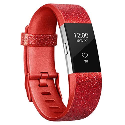 Adepoy Ersatzarmband Kompatabel für Fitbit Charge 2, Verstellbare Weiches Silikon Sport Ersatzarmband