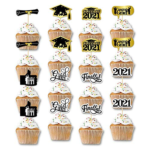 7-gost 2021 Graduation Class Of 2021 Way To Go Cupcake Toppers for Graduation Party Mini Cake Decorations Supplies(Pack of 48)