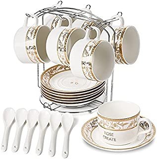 ROSE CREATE 6 pcs 5 Oz White Porcelain Coffee Cups and Saucers Sets, Ceramic Coffee Tea Cups set, Golden Edge New Bone China Set with 6 Spoons and an Iron Display Stand (Pack of 6)
