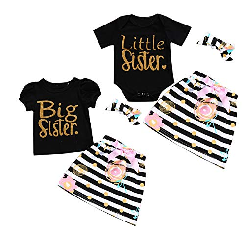Trajes a Juego para niñas Sisters Romper/tee + Dots Skirt + Headband Set de Ropa (Color : Black, Size : Little 3-6M)