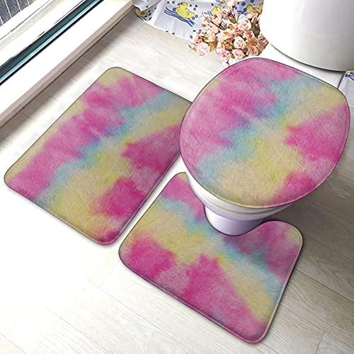 Juego de 3 alfombras de baño con diseño de rayas de arco iris impresas suaves absorbentes antideslizantes almohadillas de baño con contorno de tapa de inodoro
