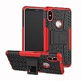 MRSTER Xiaomi Redmi S2 Hülle, Outdoor Hard Cover Heavy Duty Dual Layer Armor Hülle Stoßfest Schutzhülle mit Ständer Handyhülle für Xiaomi Redmi S2. Hyun Red