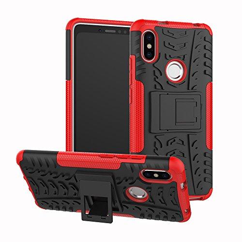 Jardire Funda Compatibles Xiaomi Redmi S2 - Rojo, Robusto y Duradero 2 en 1 Duro PC Funda + Soft TPU Cáscara de Cubierta Protectora de Doble [Vidrio Templado Xiaomi Redmi S2]