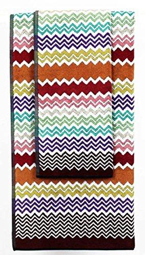Missoni Home Rufus Zig-Zag-Chevron Set of Two (2) Cotton Towels: Hand Towel + Bath Towel (Pink Multi #159)