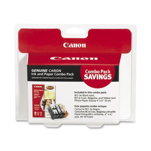 Canon BCI-3e/6 4 Colors with Photo Paper 50 Sheets Compatible to iP5000, iP4000R, iP4000, iP3000, i860, MP780, MP760, MP750