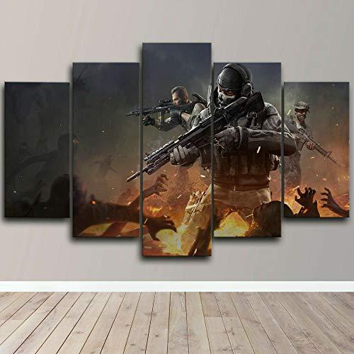 DUODUOQIAN Soldados Militares Zombies Cuadro sobre Lienzo 5 Partes Imprimir En Lienzo HD Cuadros para Dormitorios Modernos Decoración para El Hogar Mural Cuadro 150X80Cm(con Marco)