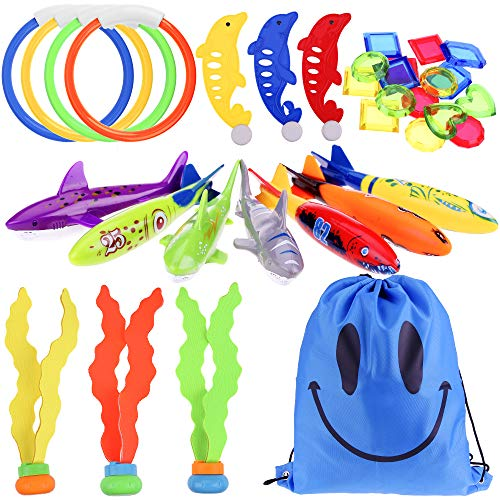 Faburo 34 stück Tauchen Spielzeug Unterwasser Pool Spielzeug Set mit Torpedos Tauchringe Edelsteine Fisch Algen Schwimmspielzeug für Kinder
