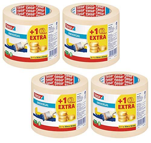 tesa Malerband für einfache Malerarbeiten, 4 x 3er Pack, 50m x 30mm