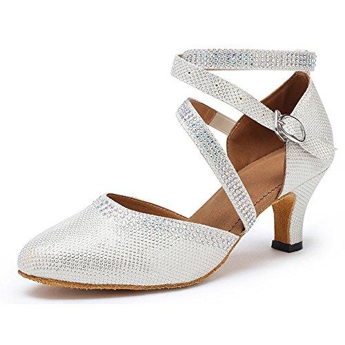 Honeystore Neuheiten Frauen Kunstleder Heels Moderne Einfarbig Tanzschuhe mit Strass Weiß 34 CN