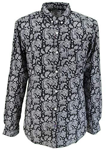 Lambretta Clothing Herren Freizeit-Hemd, Paisley Gr. X-Large, schwarz/weiß
