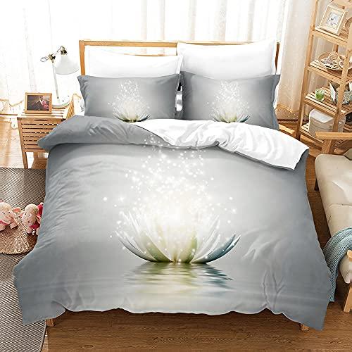 3D Drucken Bettwäsche Set 135x200 Weiße Blume Weiche und Angenehme Mikrofaser Bettwäsche für Erwachsene Jugendliche 135x200 Bettbezug mit Reißverschluss und 2 Kissenbezug 80x80cm