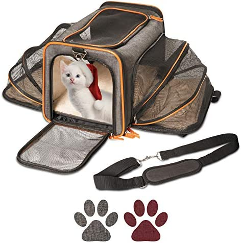 Petpeppy.com The Original Airline Approved Expandable Pet Carrier by Pet Peppy- Two Side Expansion, Designed for Cats, Dogs, Kittens,Puppies – Extra Spacious Soft Sided Carrier! (Black)