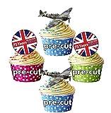 Decoración comestible para cupcakes con diseño de bandera de Reino Unido de Gran Bretaña 12 unidades