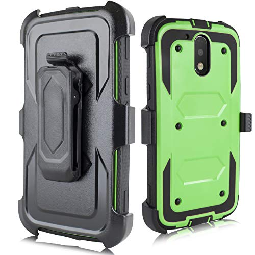 Moto G4 Case, Moto G4 Plus Case, Heavy Duty Armor Shockproof Protection Case Cover with Belt Swivel Clip Kickstand for Motorola Moto G4 Plus(2016) (Green)