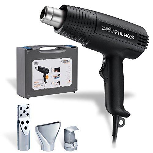 Steinel Heißluft-Pistole HL 1400 S im Koffer, inkl. 3 Düsen, 1400 W Heißluftfön, 300/500°C, Grill anzünden, schrumpfen