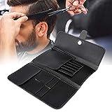 Estuche para tijeras de peluquería, estuche para tijeras profesionales negro PU tijeras de peluquería peine tijeras bolsa de almacenamiento de...
