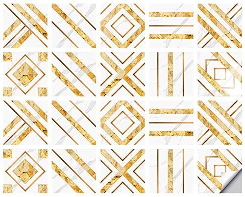 AUBIG - Adhesivo decorativo para azulejos (20 unidades, 20 x 20 cm), diseño de mosaico de PVC, impermeable, estilo E