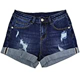 DYLISEA Denim Shorts for Women Stretchy Mid Rise Cuffed Hem Ripped Jean Hot Pants (Deep Denim, 10)