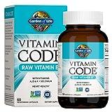 Garden of Life Vitamin E - Vitamin Code Raw Vitamin E Supplement with Vitamins A, D & K Plus Selenium, Fruit, Veggies & Probiotics, 60 Vegetarian Capsules, 125mg Whole Food Vitamin E for Heart Health