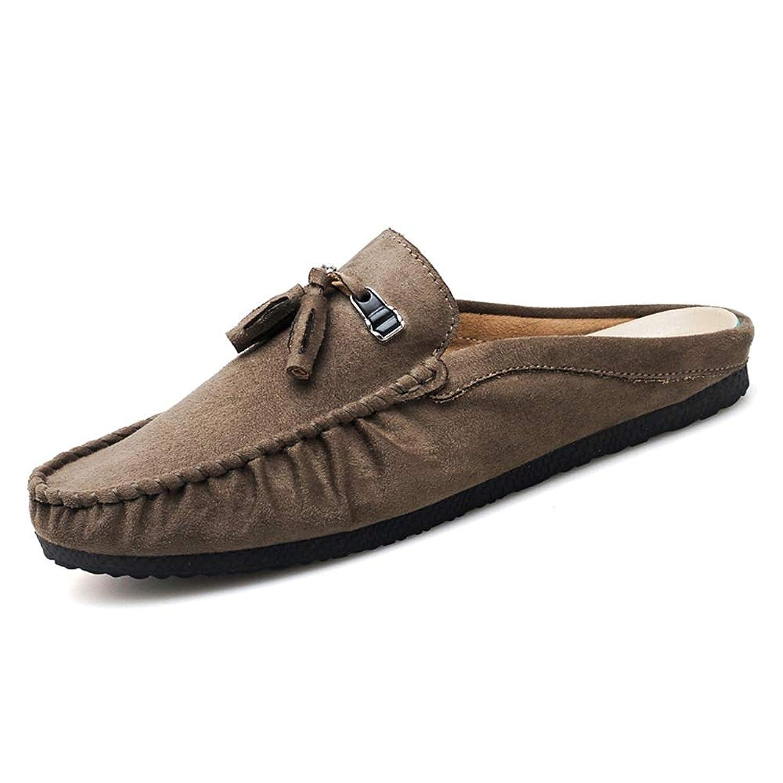 男士革靴 男性のための運転のローファーボートモカシンスリップオンスリップレザークラシックタッセルハーフドラッグ 個性な (Color : カーキ, サイズ : 27 CM)