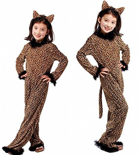 N   A Cosplay Halloween novità Regalo Costume per Bambini Costume da Prestazione Animale Costume da Ghepardo per Bambini Natale Body Height:135-150cm