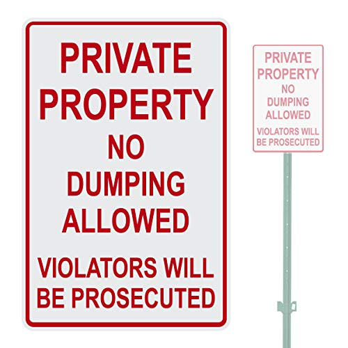 Lplpol Private Property No Dumping Allowed Warning Parking Sign, 12x18 Inch Aluminum Metal Sign with Pre-Drilled Holes
