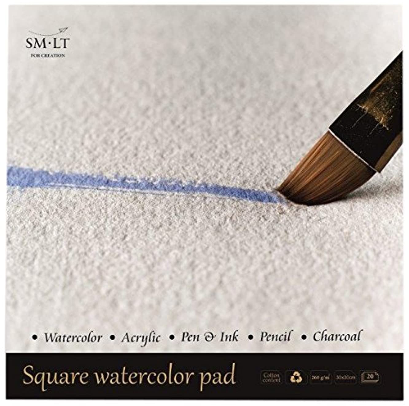 SM. LT English Watercolor Pads Square as 20?(260) Watercolour Paper 260gsm White 100% Recycled Cotton Age, and Acid-Free Paper 20?Sheets