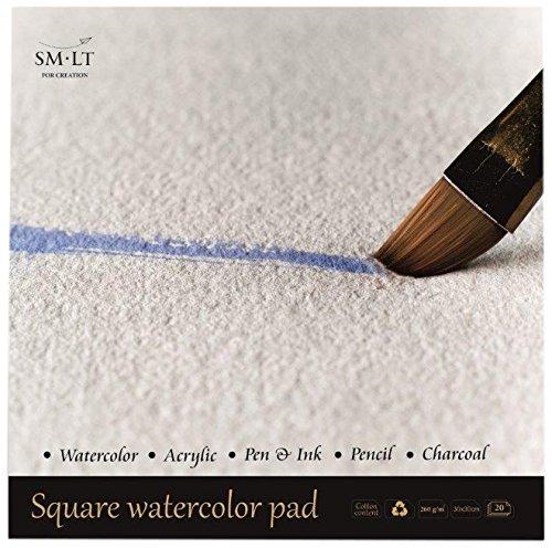 SM.LT AS de 20(260) Q English Watercolor Pads cuadrada Acuarela Papel, 260gsm Blanco 100% papel reciclado con algodón, alterungsbeständig y ácido, 20hojas
