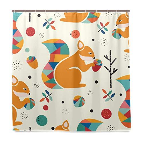 Wamika écureuil Motif géométrique Gland Rideau de Douche coloré Arbres Feuilles Art Orange Extra Long étanche Home de Salle de Bain Décoration de Bain Décor avec Crochets 180 x 180 cm