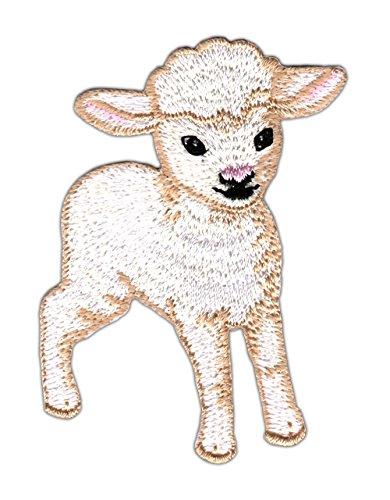 Cordero Blanca oveja Ovejas parche plancha de tamaño 6,9x 4,7cm