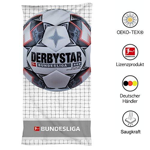 SkyBrands Fußball Handtuch Kinder | Derbystar Fussball-Bundesliga Handtuch für Jungen | Strandlaken Teenager | 75x150 Mikrofaser Baumwolle
