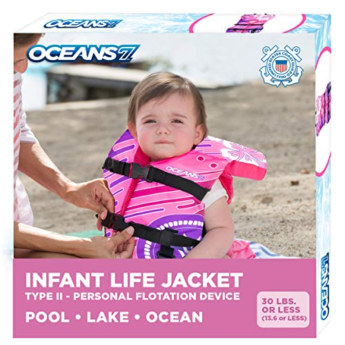 Oceans7 Us Coast Guard Approved, Infant Life Jacket, Type II Vest, PFD, Personal Flotation Device, Flex-Form Chest, Pink/Berry, Infant 8-30 lbs.