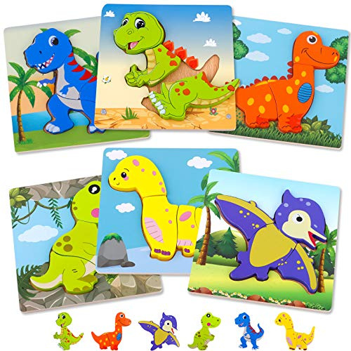 TEPSMIGO Wooden Puzzles for Toddlers 1-3,Dinosaur Animal Jigsaw Puzzles for 1 2 3 year old Kids,Educational Learning Toys,Montessori Materials for Preschool Learning Activities/Kindergarten/Homeschool