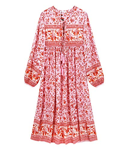 R.Vivimos Damen Beiläufig Bohemien Drucken Krawatte Langarm Strand Stil Lang Midi Kleid Berufung Kleid(2XL,Rosepink