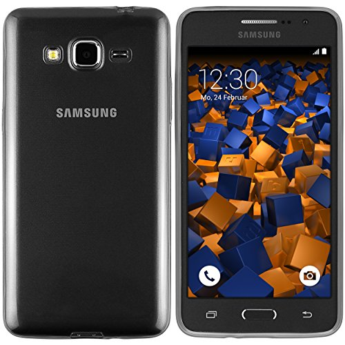 mumbi Funda Compatible con Samsung Galaxy Grand Prime Caja del teléfono móvil, Negro Transparente