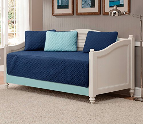 Mk Collection 5pc Modern Bedspread Day Bed Solid Embossed Navy Blue/Light Blue New