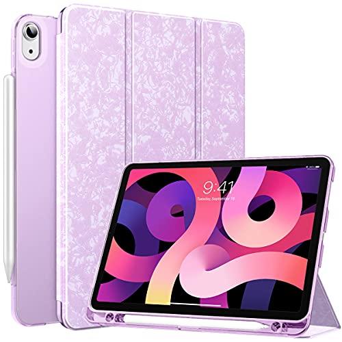 MoKo Funda Compatible con iPad Air 4ta Generación 2020 iPad 10.9 2020 Tableta, Funda de Cubierta Inteligente con Soporte Pencil y Carcasa Trasera de TPU Translúcido, Rosa Morado Moteado
