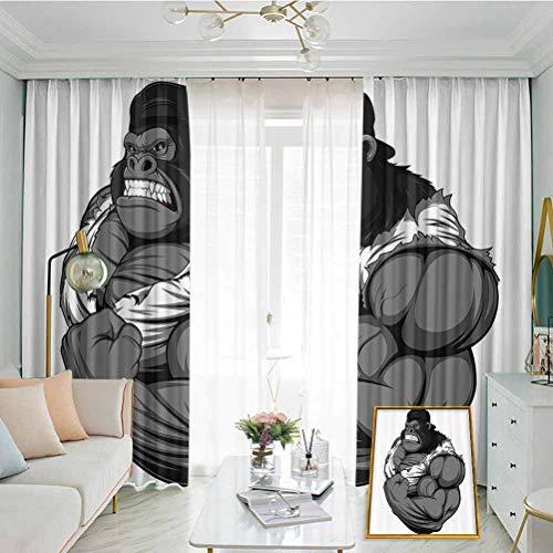 Cartoon Decor Hook up Curtain Illustration of Big Gorilla Like As Professional Athlete Bodybuilding Gym Animal for Bedroom Kindergarten Living Room W72 x L108 Inch White Grey