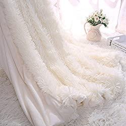 Faux Fur Throw Blanket for Bed Sofa Couch Cozy With Fluffy Shaggy Blanket 130*160CM (cream white)
