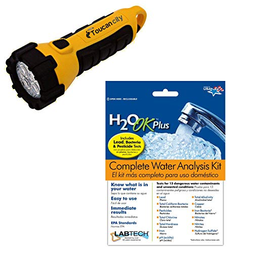 Toucan City LED Flashlight and LABTECH H2O OK Plus Complete Water Analysis Test Kit LT5015-6