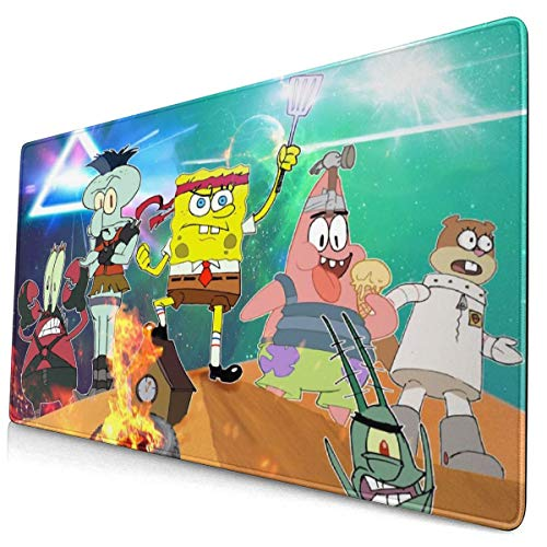 Cartoon Teamwork Spongebob Squarepants Mouse Pad with Stitched Edge Premium-Textured Mouse Mat Rectangle Non-Slip Rubber Base Oversized Gaming Mousepad,for Laptop Computer & Pc 15.8x29.5 Inches