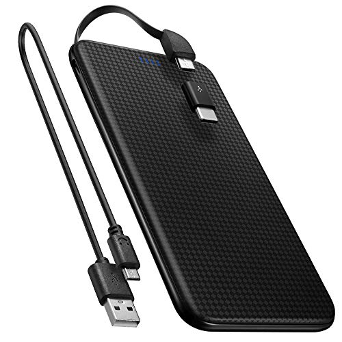 Spigen 5,000mAh Powerbank USB c Integriertes Micro USB Kabel/USB Typ C Adapter enthalten Ultra Slim Light Externer Akku für Galaxy, Pixel, Huawei, Sony