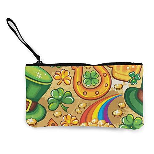 Moneda de lona, bolso de San Patricio, bolsa de cosméticos de viaje con cremallera, bolsa de maquillaje multifunción para teléfono móvil, bolsa de lápiz con asa