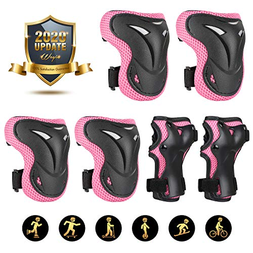 WayIn Kids/Youth Protective Gear Set, Knee Pads Elbow Pads and Wrist Guards with Adjustable and Strong Straps for Roller Skates Cycling BMX Bike Skateboard Inline Skatings Scooter Riding Sports