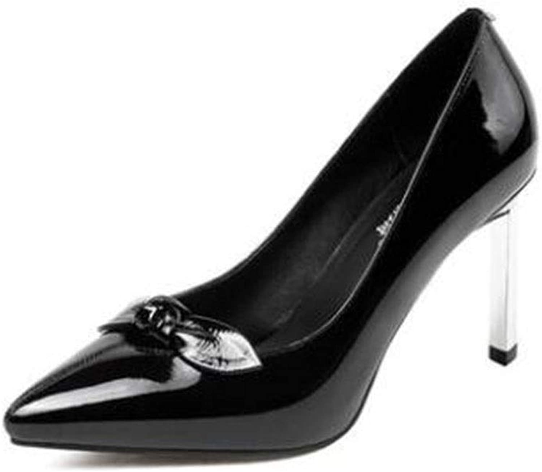SXHDMY High Heels Women's Fashion Beautiful Elegant Bow High Heels Single shoes High Heels Spring and Summer 9CM Black bluee high Heels (color   Black, Size   EU36 UK3.5 CN35)