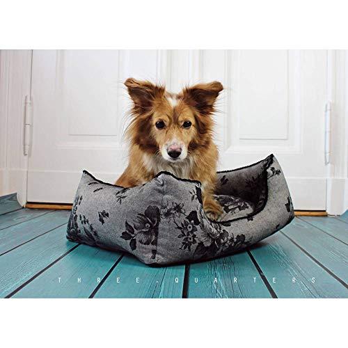 Hundebett, Rosen, schwarz, dunkelgrau, Hund, Katze, shabby, Landhaus, Luxus, Schlafplatz, Kissen, weich, gemütlich, Rosen, Blumen, edel