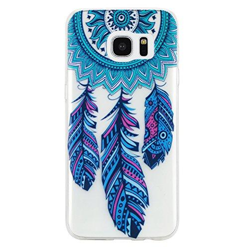 Qiaogle Teléfono Caso - Funda de TPU Silicona Carcasa Case Cover para Samsung Galaxy S7 Edge G9350 (5.5 Pulgadas) - HX22 / Azul atrapasueños