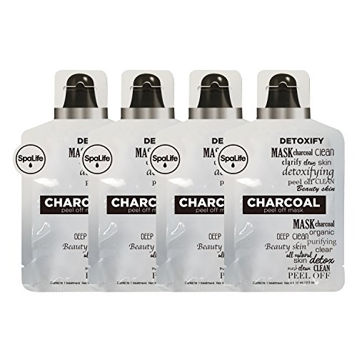 Spa Life Charcoal Clean Organic Purifying Beauty Skin Peel Off Mask 4 Pack (CHARCOAL, PEEL OFF MASK)