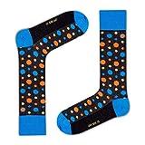 Love Sock Company colorful fun organic cotton polka dot crew dress socks for men - Vandot Black