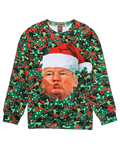 Ugly Christmas Sweater Style 3D Men Women Cat T-Rex Trump Pullover Sweatshirt Trump XX-Large